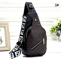 Fendi men and women retro letter embossed chest bag shoulder bag
