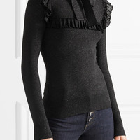 JoosTricot - Ruffled pussy-bow Lurex sweater