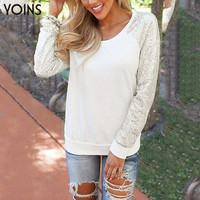 YOINS 2016 New Women Fashion Long Sleeve Round Neck Top Casual Loose Sequin Summer Autumn T-shirts Ladies Girl's Camisas