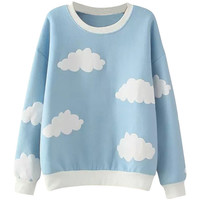 Cloud Pattern Ribbed Trim Round Neck Sweatshirt