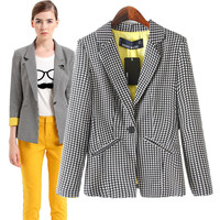 Black And White Houndstooth Notched Collar Long Sleeve Blazer