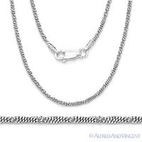.925 Sterling Silver & Rhodium 1.7mm Roc-Link Twist-Rope Italian Chain Necklace