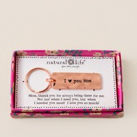 Rose Gold I Love You Mom Boxed Keychain