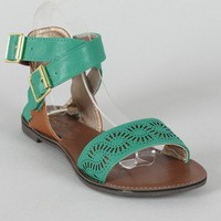 Qupid Athena-577A Two Tone Perforated Open Toe Flat Sandal