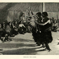 1895 Wood Engraving Andre Castaigne Circling the Lodge Native American Dance Art