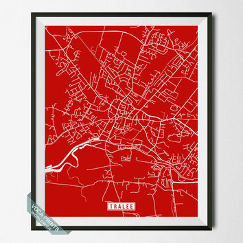 Tralee Map, Ireland Poster, Tralee Poster, Tralee Print, Ireland Print, Ireland Map, Street Map, Map Decor, Home Decor, Wall Art