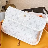 LV Fashion New Monogram Print Leather Shoulder Bag Handbag Crossbody Bag White