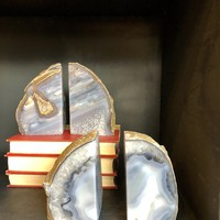NATURAL AGATE BOOKEND SET OF 2 - GEO CENTRAL
