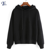 Black Hooded Long Sleeve Pullovers Plain European Styel Fashion Brand Clothing Women Basic Round Neck Cheap Sweatshirt