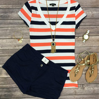 Thick Striped V-Neck Tee: Coral