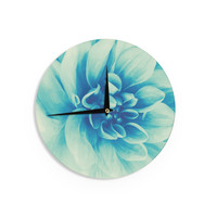 "Graphic Tabby ""Blue Beauty"" Teal Floral Wall Clock"
