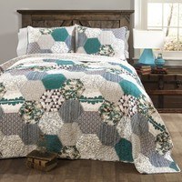 Breclynn 3 PC Turquoise Quilt Bedding Boho Bed Collection