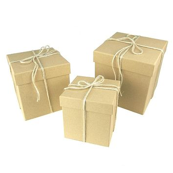 Holiday Square Natural Nested Gift Boxes, 5, 6 and 7-Inch, 3-Piece