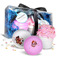 Bath Bombs Gift Set - 3 Large 6 Oz Fizzies With Natural Lush Ingredients: Shea Butter & Essential Oils - Includes Cupcake Bomb With Exfoliating Frosting - These Spa Soaps Work As Dry Skin Moisturizers