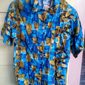 Vintage 80s Blue Abstract Blouse Shirt Top Size M