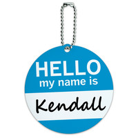 Kendall Hello My Name Is Round ID Card Luggage Tag