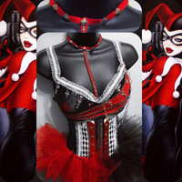 Classic Harley Quinn Outfit (Bra, Underbust Corset, Tutu): rave wear, festival, cosplay