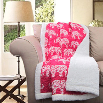 Pink Elephant Parade Soft Sherpa Blanket Throw