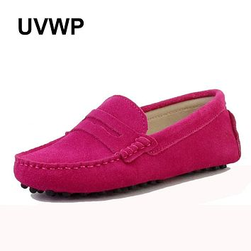 2021 Shoes Women 100% Genuine Leather Women Flat Shoes Casual Loafers Slip On Women's Flats Shoes Moccasins Lady Driving Shoes