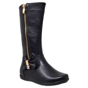 Kids Knee High Boots Quilted Leather Zipper Trim Rhinestone Bow Riding Shoes Black