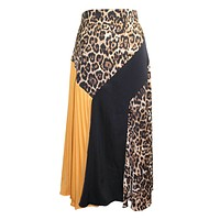Colorblock Leopard Midi Skirt