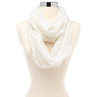 Floral Crochet Lace Infinity Scarf: Charlotte Russe