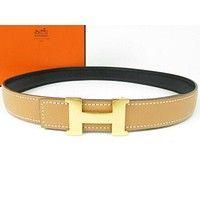 Authentic HERMES H Logo Belt Gold-tone Black Beige Vintage Very good r1504