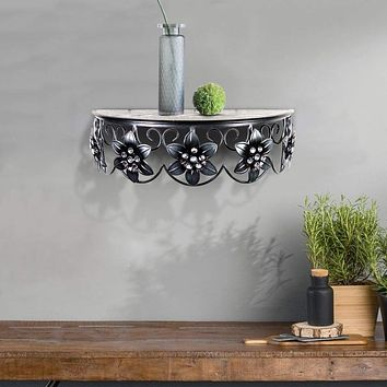 Vintage Half Moon Metal Wall Shelf with Flowers and Crystal Accents, Black