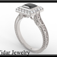 Princess Cut Black Diamond Filigree Engagement Ring-Unique Ring Design.