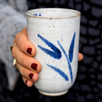 Tumbler Cups / White Pottery Cups /  Handleless Tea Tumbler / Gift for Avid Coffee Drinker