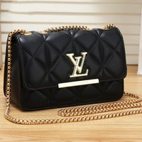 LV casual wild print wave pattern diamond chain small square bag shoulder Messenger bag