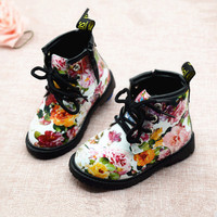 2017 Fashion Printing Children Shoes Girls Boots PU Leather Cute Baby Boots Comfy Ankle Kids Girl Martin Shoes Size 21-30