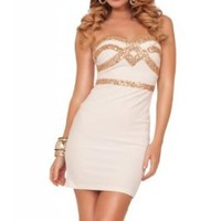 Womens Party Knitted Stretch Sweetheart Sequin Embellished Sleevless Mini Dress