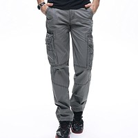 mens clothing mens pants casual cargo pant men multi-pocket military pants cotton Loose Trousers army cargo pants