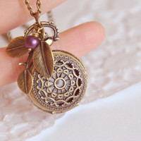 Romantic antique style filigree pocket watch necklace