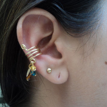 gold earcuff with swarosvki crystals and golden leaves / wire wrapped earcuff autumn jewelry