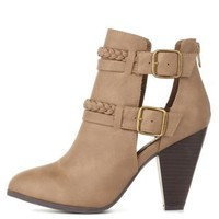Taupe Braided & Belted Chunky Heel Booties by Charlotte Russe