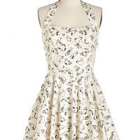 ModCloth Cats Mid-length Halter Fit & Flare Traveling Cupcake Truck Dress in Cats