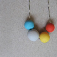 """Bright rainbow polymer clay necklace - geometric beads necklace-  """" Round and round"""""""