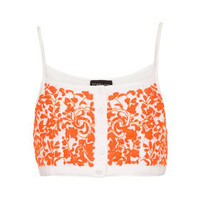 Button Front Floral Crop Top - Tops  - Clothing