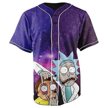 Galaxy Rick and Morty Blue Button Up Baseball Jersey