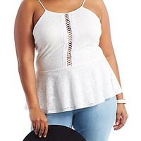 PLUS SIZE PAISLEY LACE PEPLUM TOP