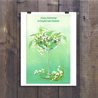 Happy Anniversary Floral Card Vintage - Champagne Glass to Daughter and Husband - 1960s Retro Greeting Card Paper Ephemera - 60s  Romantic