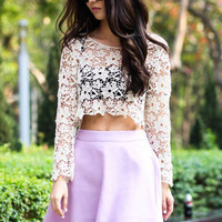 Crochet Lace Cropped Top   Goodnight Macaroon   Women's Clothing & Jewelry