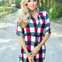 In the Name of Love Plaid Belted Tunic Burgundy