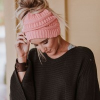 Messy Bun Knitted Beanie Hat - Pink