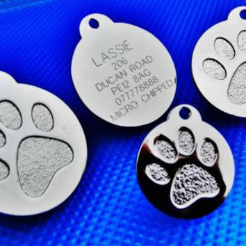 Round Paw Dog Pet Tags Engraved