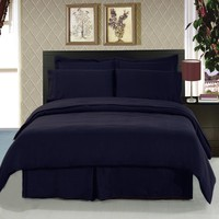 Solid Navy 8-Piece Bedding Set Super Soft Microfiber