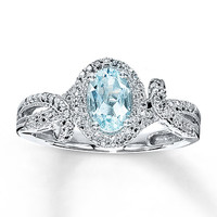 Aquamarine Ring Oval-Cut with Diamonds Sterling Silver