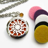 Tribal Sun Diffuser Necklace, Stainless Steel Essential Oil Diffuser Pendant, Personalized Aromatherapy Necklace,  Birthstone Necklace